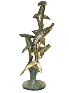 "66""H Polychrome Shark Fountain Bronze Statue Garden Sculpture"