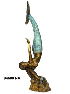 Bronze Mermaid Statue - Tail Up w/ Shell - Polychrome Patina