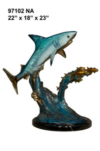 "23""H Whale Shark With Fish In Special Patina On  Marble Base Bronze Statue Garden"