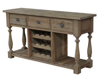 Farmhouse Console with Wine Rack in All Natural Finish