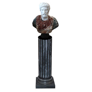 Male Bust on Pedestal Multi Color Marble 1126