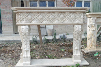 Egyptian Beige Marble Mantel (48X42) 16666