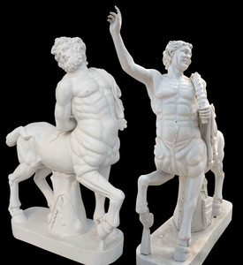 Pair - Greek Centaur Statues - Carved White Marble - Mythological Marble Sculptures