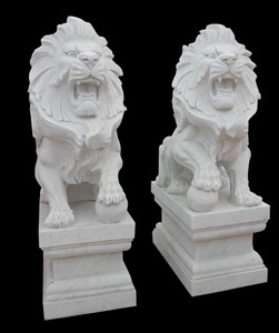Pair - Sitting Marble Lions w/ Ball Statues - White Marble Entry
