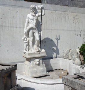 Magnificent Neptune Fountain - White Marble