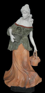 Woman w/ Basket Statue - Multi Color Marble