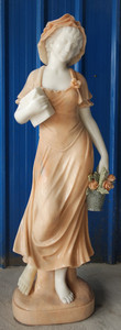 Woman w/ Book & Basket Statue - Multi Color Marble