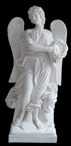 White Marble Angel Holding Wreath on Base 17010
