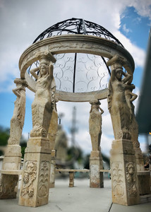 Figural Marble Gazebo w/ Stainless Dome - Egyptian Beige Marble