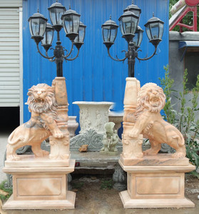 Pair - Exterior Torchiere - Carved Marble Lions on Base - Beige Marble