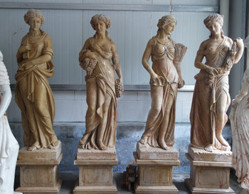 Set (4) Four Seasons Marble Ladies Statues on Base - Beige Marble