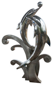 Stainless Steel Dolphins on Wave Sculpture Chrome 17128
