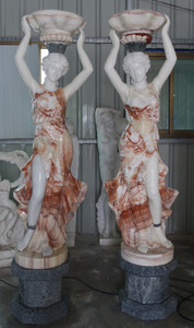 Pair of Woman Planters on Base Multi Color Marble 16997