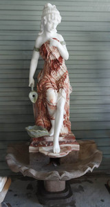 Woman Wall Fountain Multi Color Marble 16882
