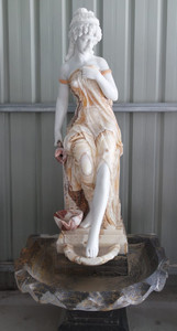 Woman Wall Fountain Multi Color Marble 17038