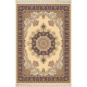 Beige with Blue Rug Persian Design - Choose Size