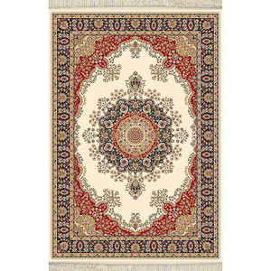 Ivory Blue Red Rug Persian Design - Choose Size