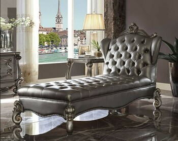 Versailles Platinum Tufted Chaise