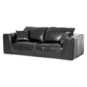 SophiaLeather StandardSofa inOnyxSt.Steel - E2 -On Sale Michael Amini AICO