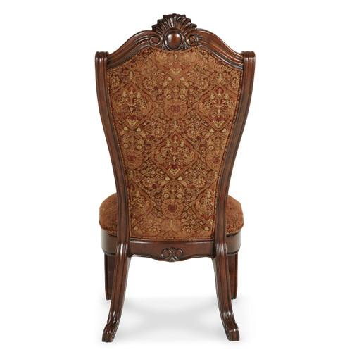Windsor CourtSide Chair Fabric BackVintage Fruitwood - Michael Amini AICO Furniture - 70003-54