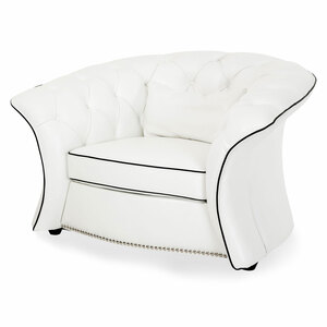 Molisa Leather Flare Arm Chair in White - E2 -On Sale Michael Amini AICO