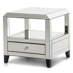 MontrealMirrored Square Accent Table w/Drawer - E2 -On Sale Michael Amini AICO