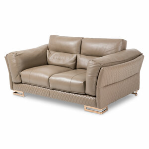 MonicaLeather LoveSeat in TaupeRoseGold - E2 -On Sale Michael Amini AICO