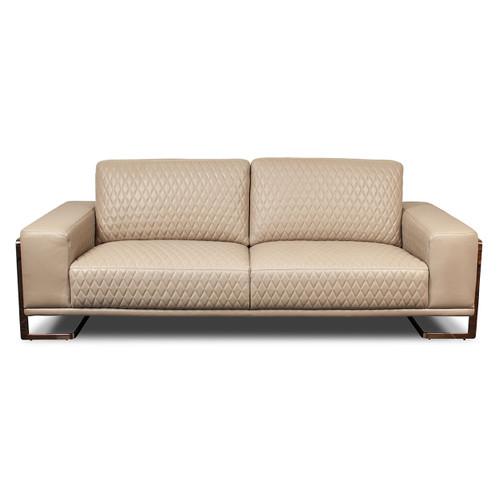 GiannaLeather StandardSofa in Lt. CoffeeRoseGold - Michael Amini AICO Furniture - MB-GIANN15-PCH-801