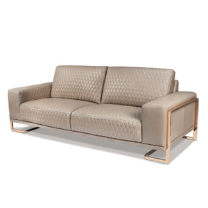 GiannaLeather StandardSofa in Lt. CoffeeRoseGold - E2 -On Sale Michael Amini AICO