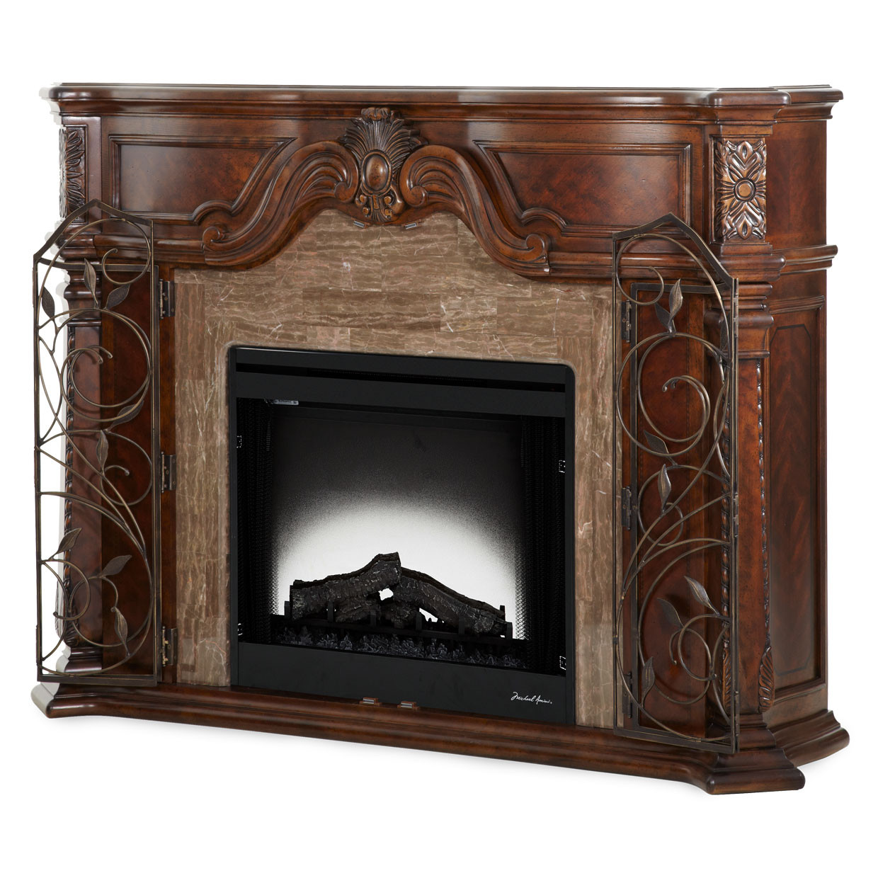 Aico Windsor Courtfireplace Vintage Fruitwood By Michael Amini