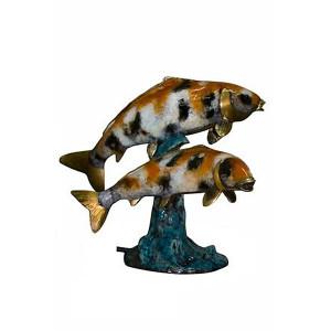 Two Koi Fish Fountain w/Mrb Base-Special Patina