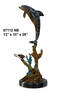 "28""H Dolphin And  Turtle On Marble Base In Special Patina Bronze Statue Garden"