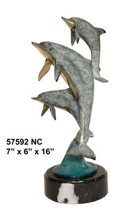 Three Medium Dolphins In  Special Patina On Marble Base Bronze Statue Garden