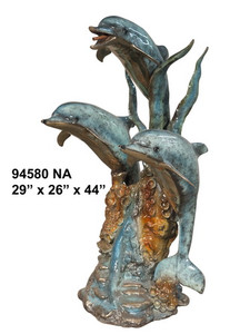 "44""H Three Dolphin Coral On Marble Base In Special Patina Bronze Statue Garden"
