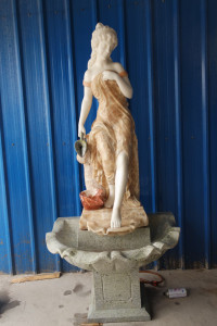 Woman at Fountain - Multi Color Marble