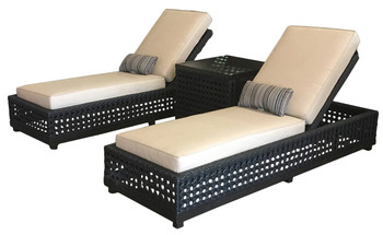 Monterey 3pc Outdoor Chaise Lounge Set w Table Patio Furniture