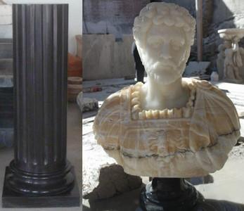 Pair of Urns On Pedestals in Multi Color Marble  17100