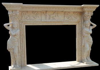 Fireplace Mantel in Egyptian Beige Marble 48X36 17916
