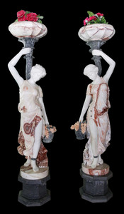 Pair of Women Holding Planters in Multi Colored Marble 18025