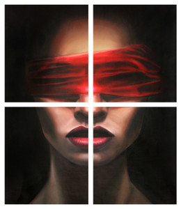Red Blindfolded Woman Gallery Wrap - Quad