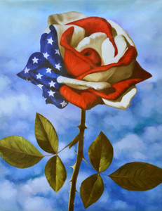 American Flag Single Rose Gallery Wrap