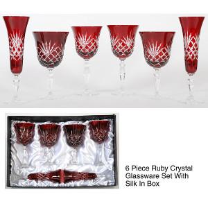Ruby Crystal Stemware         Set of 6