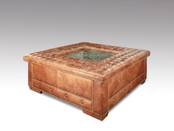 Square Leather Button Tufted Cocktail Ottoman Coffee Table w Marble & Nail Heads