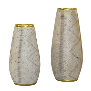 Snake Skin Texture Dry Flower Vase Set of 2