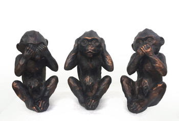 See Hear Speak No Evil Monkeys Three Wise Ape Figurine Statue Set Of 3 6.5""