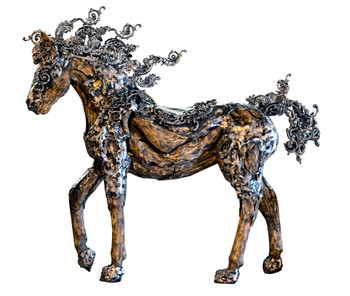 "79""H   Horse With Aluminum Natural Silver Wood  Statue Handcrafted"