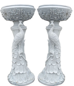 Peacock Planters in White Marble   Set of 2   17635