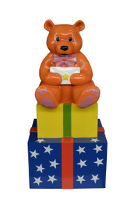 "45.75""H Teddy Bear On Presents Fiberglass Novelty Collectable Decor"