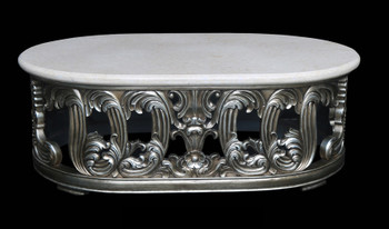Platine Oval Crema Marble Top Coffee Table