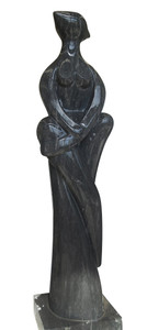Abstract Sculpture Black and White Marble 17331